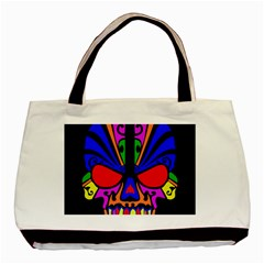 Skull In Colour Twin Sided Black Tote Bag by icarusismartdesigns
