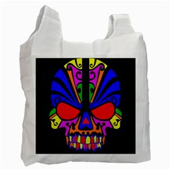 Skull In Colour White Reusable Bag (one Side) by icarusismartdesigns