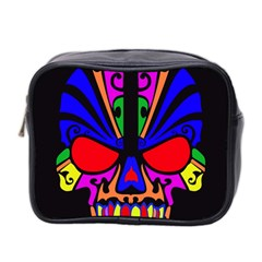 Skull In Colour Mini Travel Toiletry Bag (two Sides) by icarusismartdesigns
