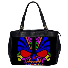 Skull In Colour Oversize Office Handbag (one Side) by icarusismartdesigns