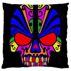 Skull In Colour Large Cushion Case (two Sided)  by icarusismartdesigns