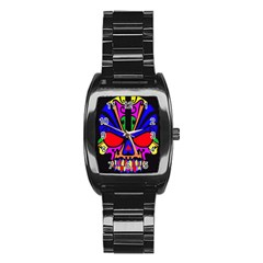 Skull In Colour Stainless Steel Barrel Watch by icarusismartdesigns