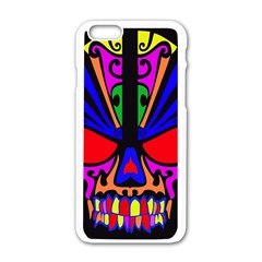 Skull In Colour Apple Iphone 6 White Enamel Case by icarusismartdesigns
