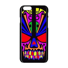 Skull In Colour Apple Iphone 6 Black Enamel Case by icarusismartdesigns