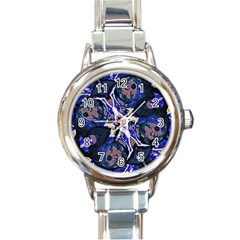 Decorative Retro Floral Print Round Italian Charm Watch by dflcprints