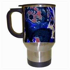 Decorative Retro Floral Print Travel Mug (white) by dflcprints