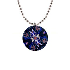 Decorative Retro Floral Print Button Necklace by dflcprints