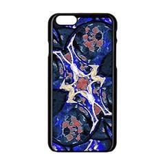 Decorative Retro Floral Print Apple Iphone 6 Black Enamel Case by dflcprints