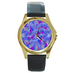 Abstract Deco Digital Art Pattern Round Leather Watch (gold Rim)  by dflcprints