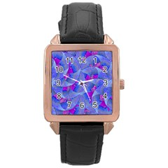 Abstract Deco Digital Art Pattern Rose Gold Leather Watch  by dflcprints