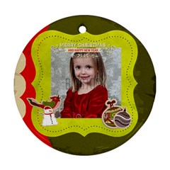 Merry Christmas By Xmas   Round Ornament (two Sides)   Frlrzxbig410   Www Artscow Com Front