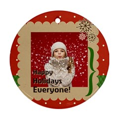 Merry Christmas By Xmas   Round Ornament (two Sides)   J0nbrn4djpcq   Www Artscow Com Front