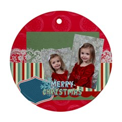 Merry Christmas By Xmas   Round Ornament (two Sides)   2dyjquvtn9xb   Www Artscow Com Front