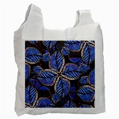 Fantasy Nature Pattern Print White Reusable Bag (one Side) by dflcprints