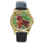 Brussels griffon Round Gold Metal Watch