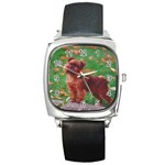 Brussels griffon Square Metal Watch