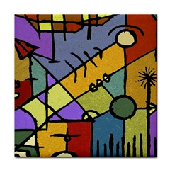 Multicolored Tribal Pattern Print Ceramic Tile by dflcprints