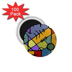 Multicolored Tribal Pattern Print 1 75  Button Magnet (100 Pack) by dflcprints
