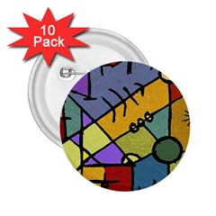 Multicolored Tribal Pattern Print 2 25  Button (10 Pack) by dflcprints