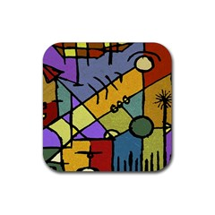 Multicolored Tribal Pattern Print Drink Coaster (square) by dflcprints