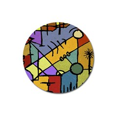 Multicolored Tribal Pattern Print Magnet 3  (round) by dflcprints