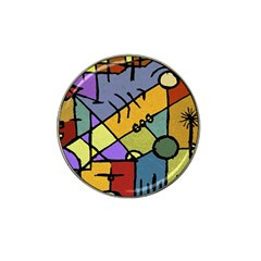 Multicolored Tribal Pattern Print Golf Ball Marker 4 Pack (for Hat Clip) by dflcprints
