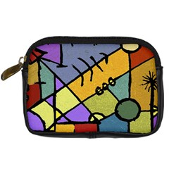 Multicolored Tribal Pattern Print Digital Camera Leather Case by dflcprints