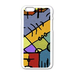 Multicolored Tribal Pattern Print Apple Iphone 6 White Enamel Case