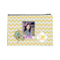 Cosmetic Bag (l): Yellow Chevron By Jennyl   Cosmetic Bag (large)   Yu81ne5k666r   Www Artscow Com Back