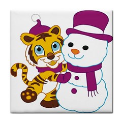 Winter Time Zoo Friends   004 Ceramic Tile by Colorfulart23