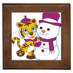 Winter Time Zoo Friends   004 Framed Ceramic Tile by Colorfulart23