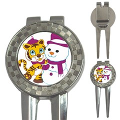 Winter Time Zoo Friends   004 Golf Pitchfork & Ball Marker by Colorfulart23
