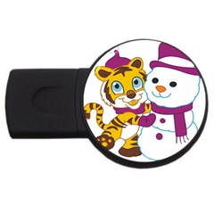 Winter Time Zoo Friends   004 4gb Usb Flash Drive (round) by Colorfulart23