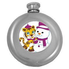Winter Time Zoo Friends   004 Hip Flask (round) by Colorfulart23