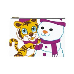 Winter Time Zoo Friends   004 Cosmetic Bag (large) by Colorfulart23