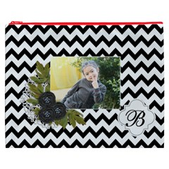 Cosmetic Bag (xxxl): Black Chevron By Jennyl   Cosmetic Bag (xxxl)   Hvqoxcdnfrcz   Www Artscow Com Front