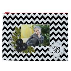 Cosmetic Bag (xxl): Black Chevron By Jennyl   Cosmetic Bag (xxl)   Ev3yqizjd4ur   Www Artscow Com Front