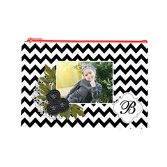 Cosmetic Bag (l): Black Chevron By Jennyl   Cosmetic Bag (large)   J14cqkufghey   Www Artscow Com Front