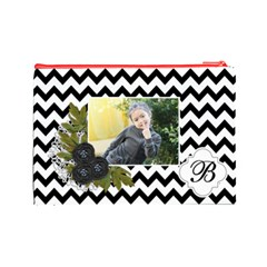 Cosmetic Bag (l): Black Chevron By Jennyl   Cosmetic Bag (large)   J14cqkufghey   Www Artscow Com Back