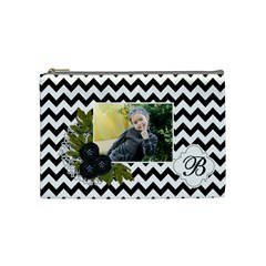 Cosmetic Bag (m):  Black Chevron By Jennyl   Cosmetic Bag (medium)   5tpll5v5d53v   Www Artscow Com Front