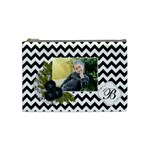 Cosmetic Bag (M):  Black Chevron - Cosmetic Bag (Medium)