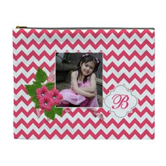 Cosmetic Bag (xl): Pink Chevron By Jennyl   Cosmetic Bag (xl)   Rsyzw4vl2a8h   Www Artscow Com Front