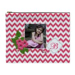 Cosmetic Bag (XL): Pink Chevron