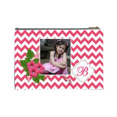 Cosmetic Bag (l): Pink Chevron By Jennyl   Cosmetic Bag (large)   Wwu03ih6nooj   Www Artscow Com Back