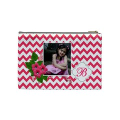 Cosmetic Bag (m):  Pink Chevron By Jennyl   Cosmetic Bag (medium)   Rtqafjas9bb7   Www Artscow Com Back