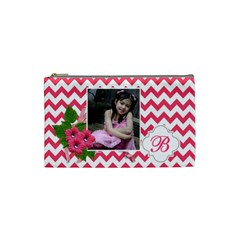 Cosmetic Bag (s):  Pink Chevron By Jennyl   Cosmetic Bag (small)   Jl6x1o3isi22   Www Artscow Com Front