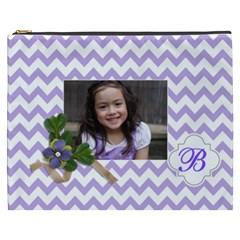Cosmetic Bag (xxxl): Violet Chevron By Jennyl   Cosmetic Bag (xxxl)   Yp0o0nn45c0b   Www Artscow Com Front