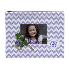 Cosmetic Bag (xl): Violet Chevron By Jennyl   Cosmetic Bag (xl)   71v94kysxzfc   Www Artscow Com Front