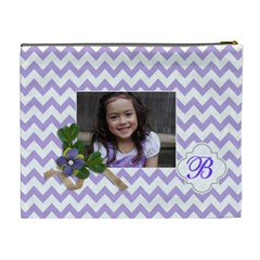 Cosmetic Bag (xl): Violet Chevron By Jennyl   Cosmetic Bag (xl)   71v94kysxzfc   Www Artscow Com Back