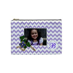 Cosmetic Bag (m):  Violet Chevron By Jennyl   Cosmetic Bag (medium)   S1v8cy638lmo   Www Artscow Com Front